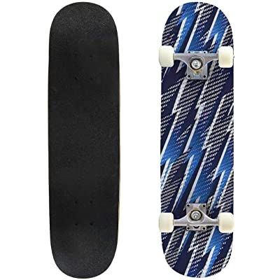 Classic Concave Skateboard Abstract Seamless Lighting Pattern Longboard Maple Deck Extreme Sports and Outdoors Double Kick Trick for Beginners and Professionals : Sports & Outdoors