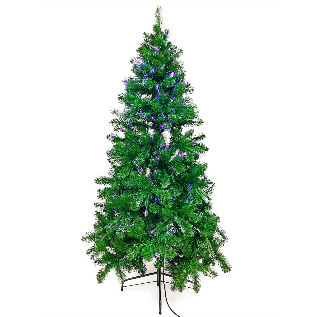Signstek 6ft Pre-Lit Starry-Sky Optical Dancing Fiber Artificial Seasonal Decoration Christmas Tree
