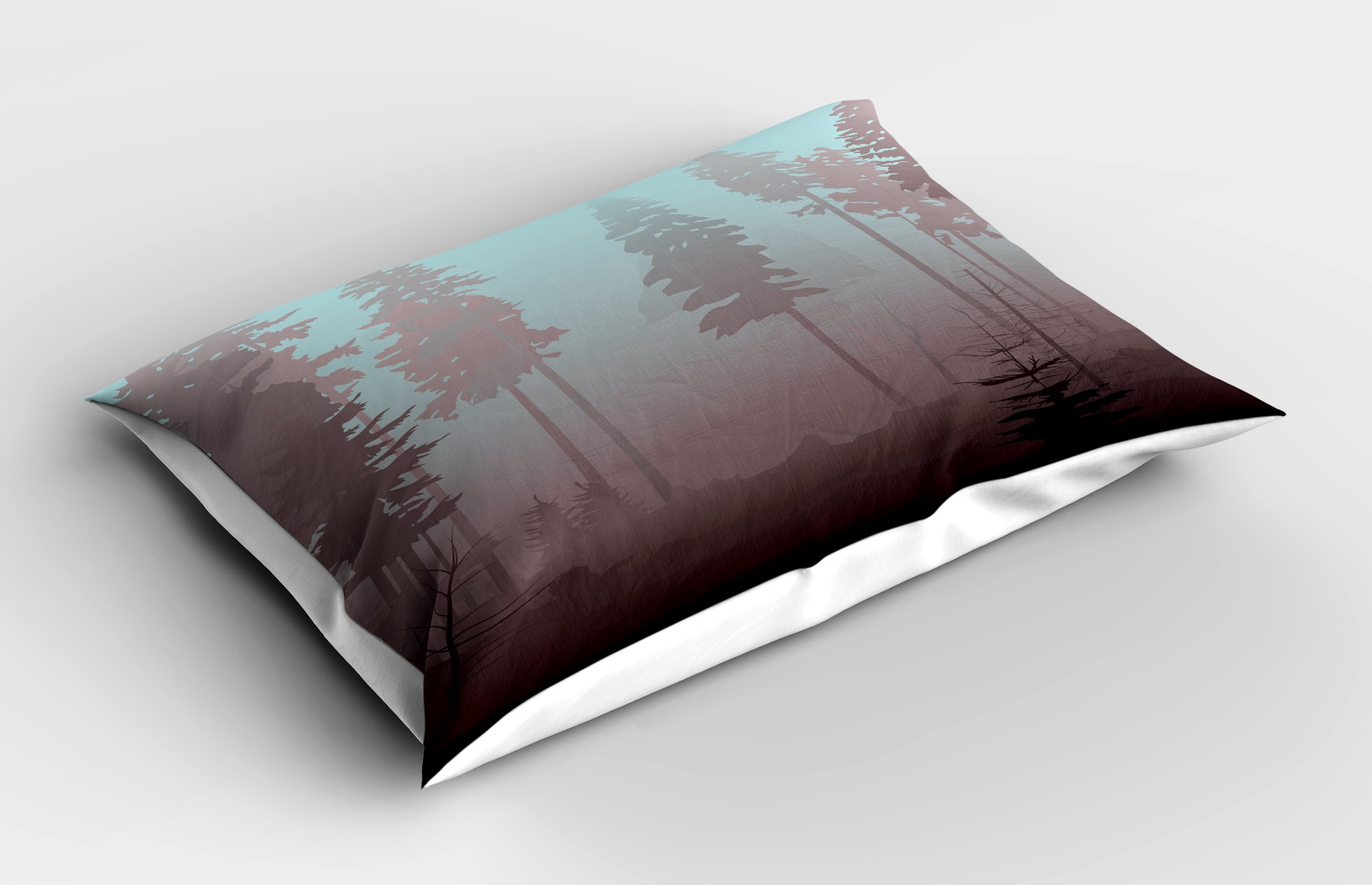 Ambesonne Forest Pillow Sham, Early Morning in Mysterious Woods with Heavy Fog Coniferous Trees, Decorative Standard King Size Printed Pillowcase, 36 X 20 inches, Pale Blue Dried Rose Maroon by Ambesonne (Image #2)