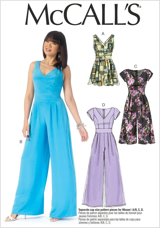McCalls 8047 Misses Romper Jumpsuit Sash Sewing Pattern Sz 8-16