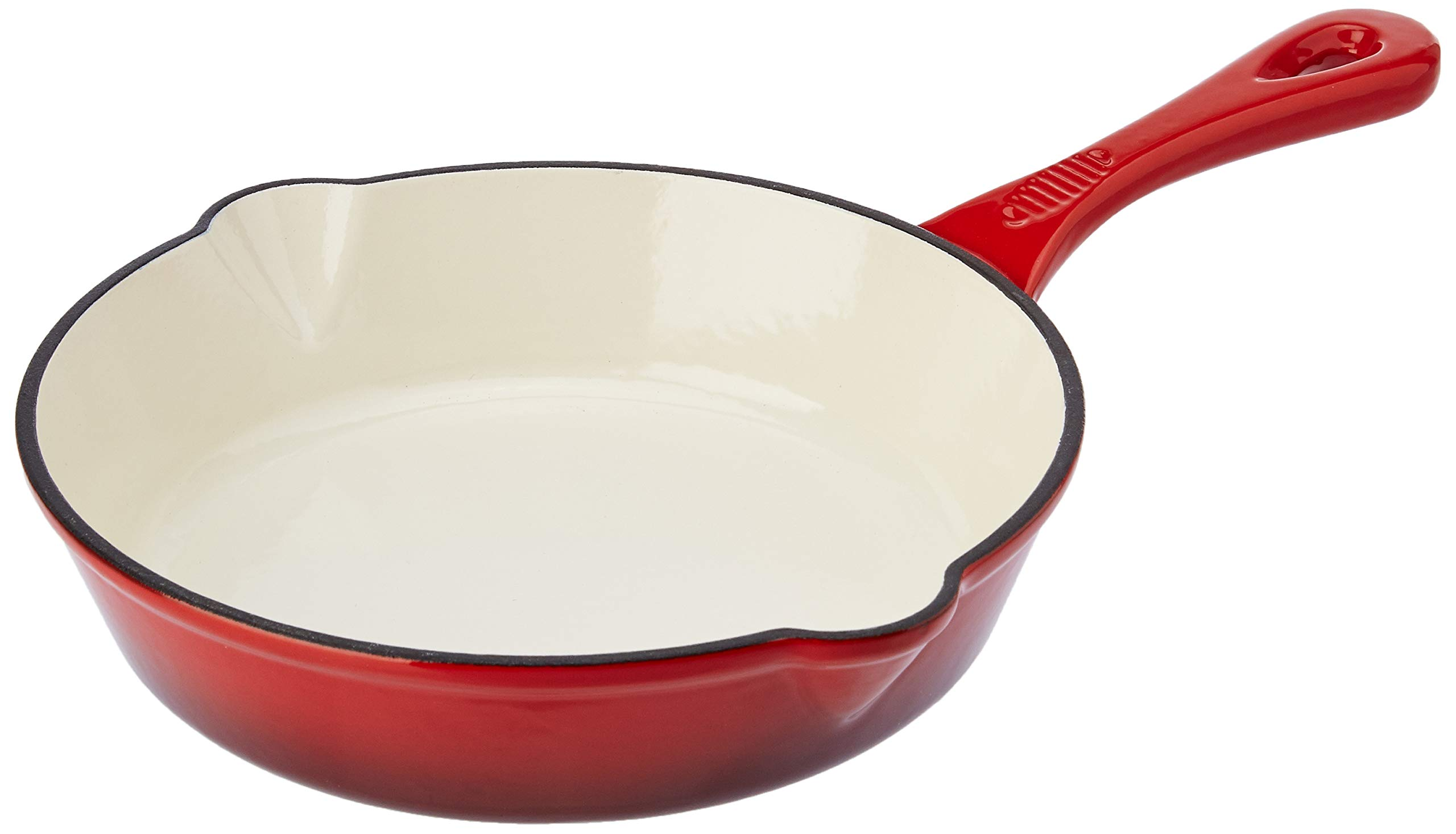 Amazon Brand - Solimo Cast Iron Fry Pan, 21cm, Red