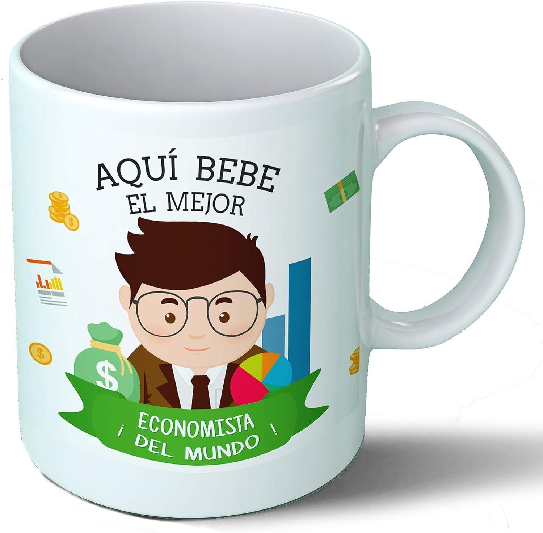 Planetacase Taza Desayuno Aquí Bebe el Mejor economista del Mundo Regalo Original Ceramica 330 mL