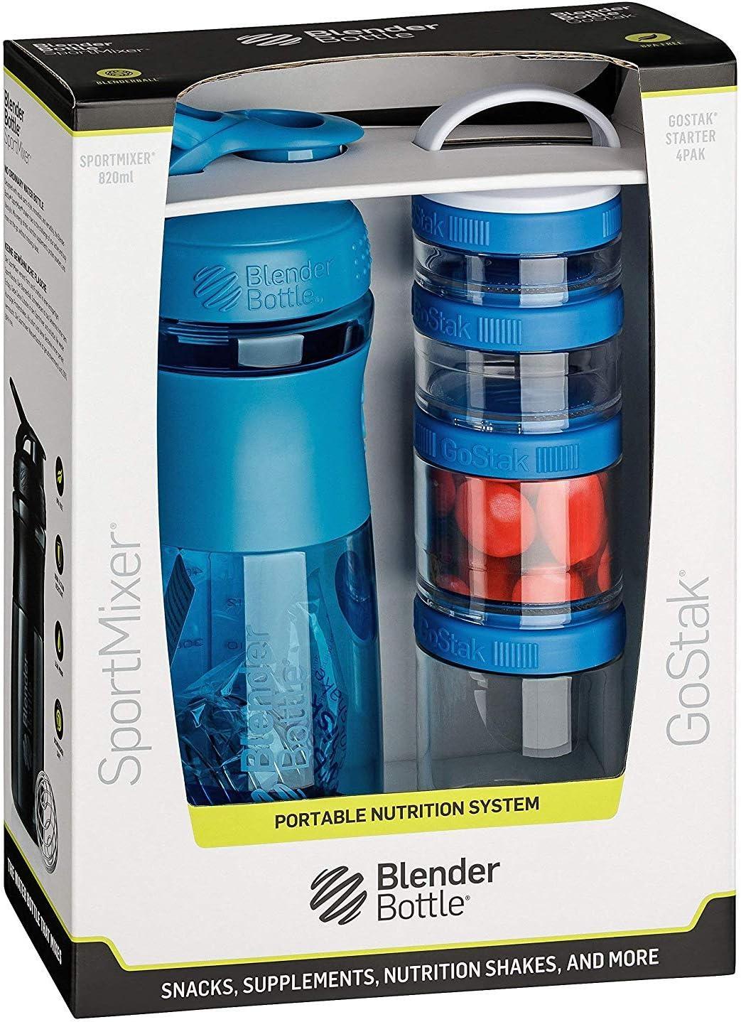 BlendirBottle Combo Pak Sportmixer Shaker per Frullati di Proteine e Gostak Contenitori per Alimenti con Maniglia
