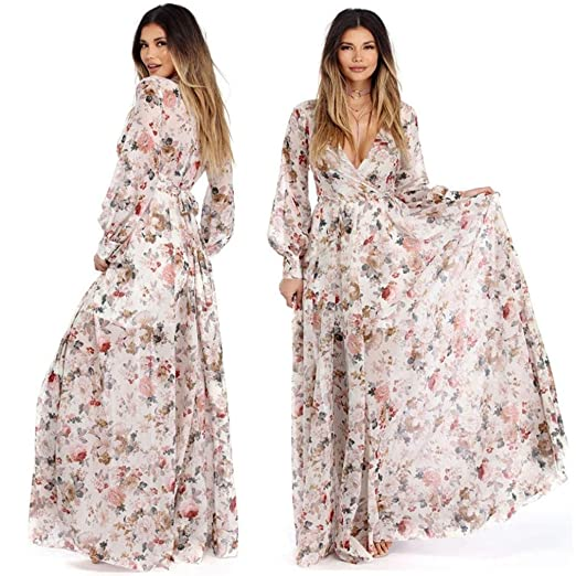 OverDose mujer de Manga Larga con Cuello en V Gasa Floral Sashes Bohemian Fit y Llamarada otoño Maxi Evening Party Beach Dress: Amazon.es: Ropa y accesorios