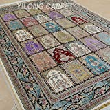 Yilong 6 x9  Hand Knotted Silk Carpet Traditional Oriental Four Season Garden Scene Handmade Area Rugs (Multi)...