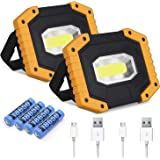 LED Work Light 2 Pack, Rechargeable COB 30W 2000LM Portable LED Flood Lights with Stand Waterproof Camping Work Light for Out