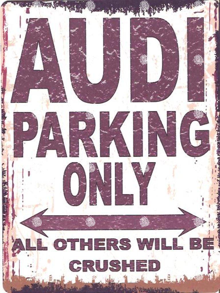 Audi en mé tal de parking Sign Petite 15 x 20 cm ré tro Boî te Style vintage Dé coration murale Abri Atelier Garage Classic Cars METAL SIGN CO