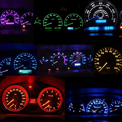 WLJH 28pcs T5 LED luz 74 2721 bombillas LED Tablero tablero de instrumentos del coche LED Panel de instrumentos bombilla para E36 E34 E32 E38 E31 M3 Z3 rojo ...