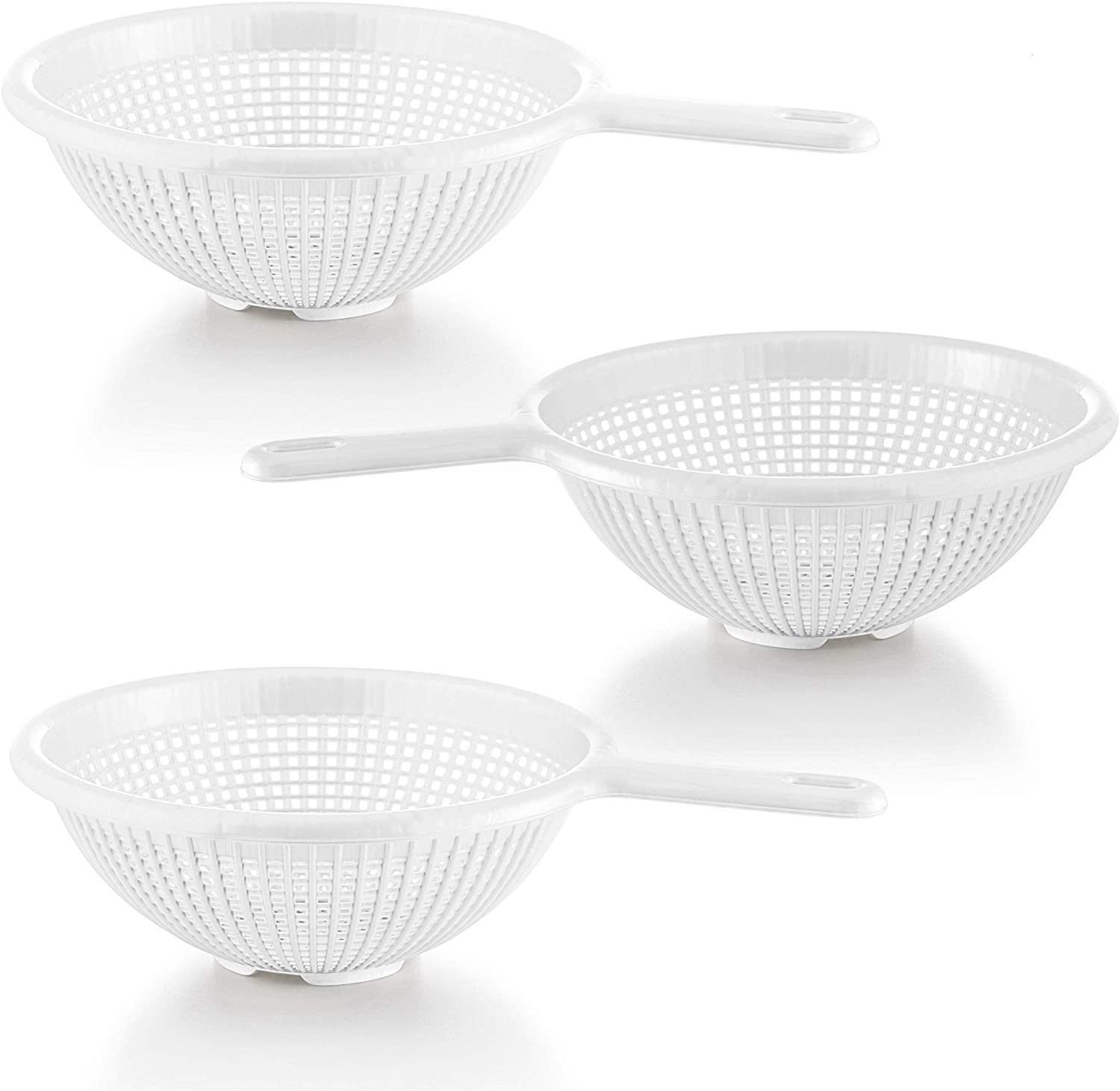 YBM Home 8.5 Inch Plastic Strainer Colander with Long Handle – Made of Food Safe BPA-Free Plastic - Use for Pasta, Noodles, Spaghetti, Vegetables and More 31-1129-white-3 (3, White)