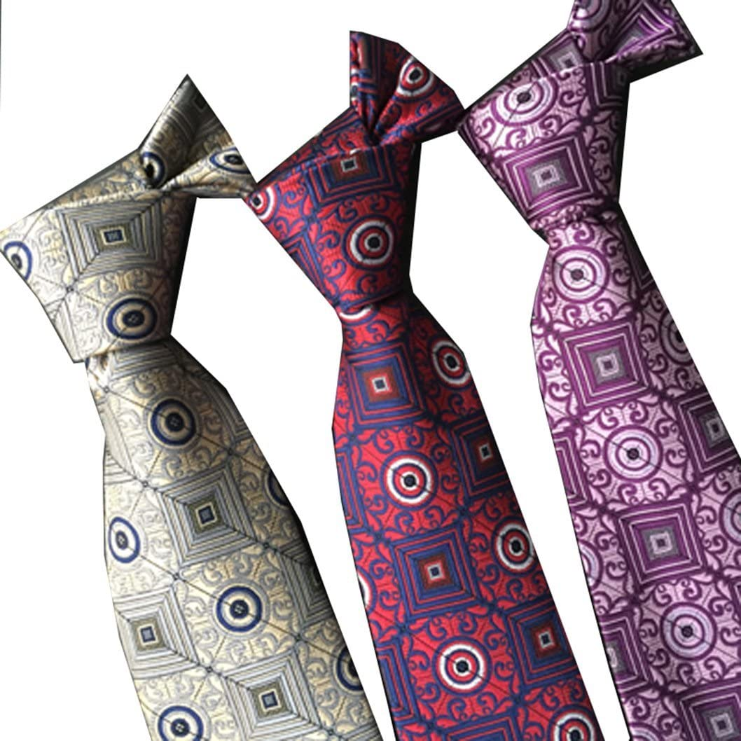 MENDENG Mens Classic Necktie Set Hanky Pocket Square Cufflink Tie Clip 2 Sets