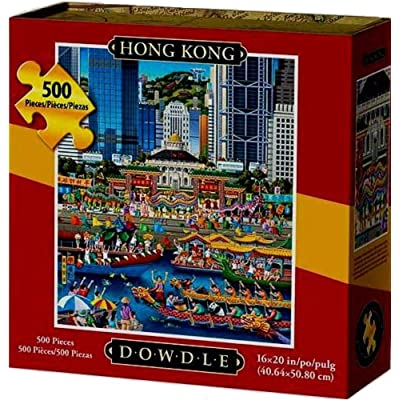 "Dowdle Folk Art 500 Piece Puzzle ""Hong Kong"": Toys & Games"