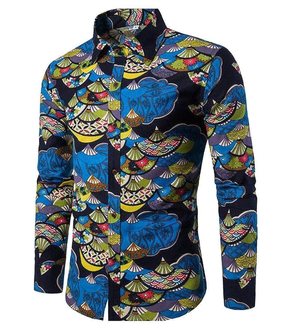 Alion Mens Fashion Pattern Print Casual Long Sleeve Button Down Lapel Shirt 1 M