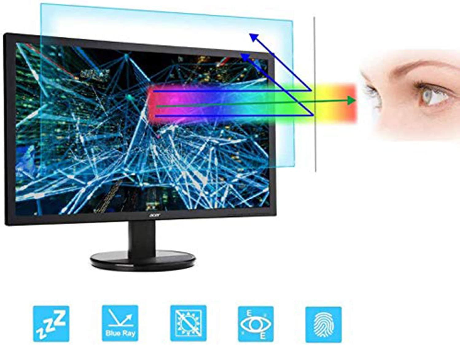 "23 Inch Monitor Screen Protector -Blue Light Filter, Eye Protection Blue Light Blocking Anti Glare Screen Protector for Diagonal 23"" 16:9 Widescreen Desktop Monitor (Size: 20"" Width x 11.3"" Height)"