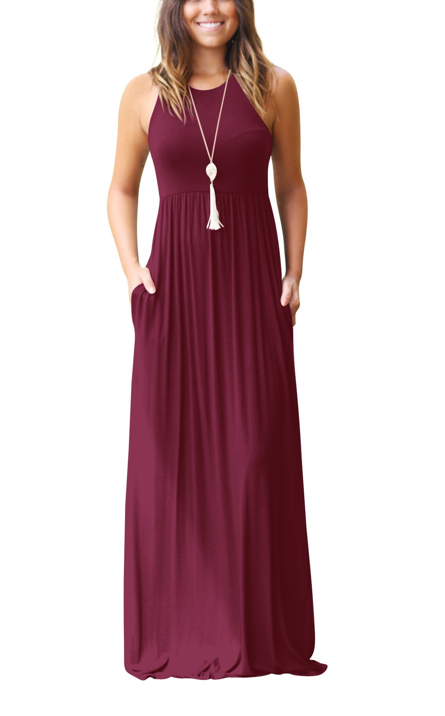 ZIKKER Women's Sleeveless Racerback Loose Plain Maxi Dresses Casual Long Dresses with Pockets Wine Red S