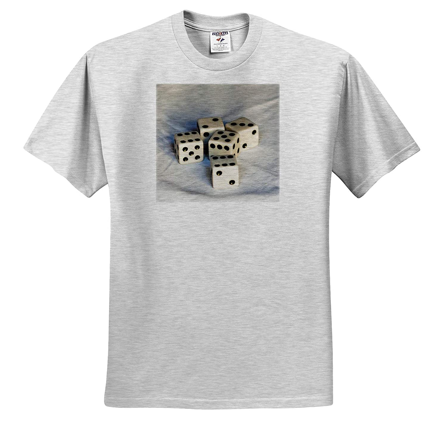 T-Shirts Objects Misc 3dRose Alexis Photography - Image of Five White Dices on a White Cloth