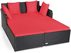 Tangkula Outdoor Rattan Daybed, Sunbed Wicker Furniture w/Spacious Seat, Upholstered Cushion & High-Resilience Sponge, Wicker Patio Sofa Set w/Extra Pillows for Courtyard Poolside Living Room (Red)