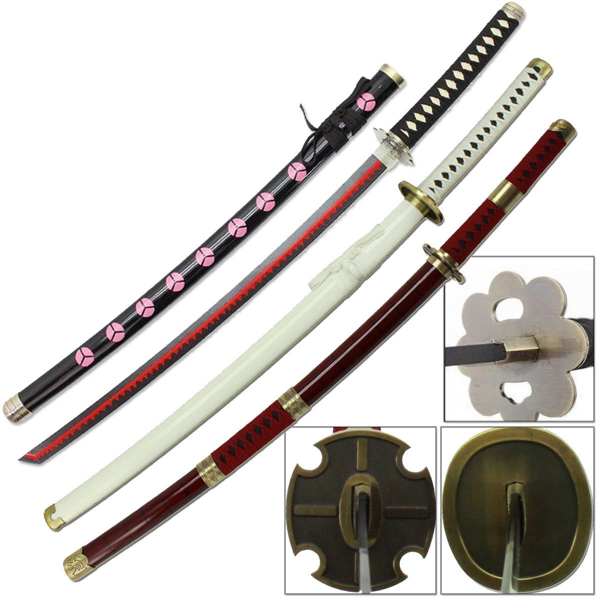 One piece anime sword set 3pcs roronoa zoro steel shusui yubashiri sandai kitetsu swords amazon canada