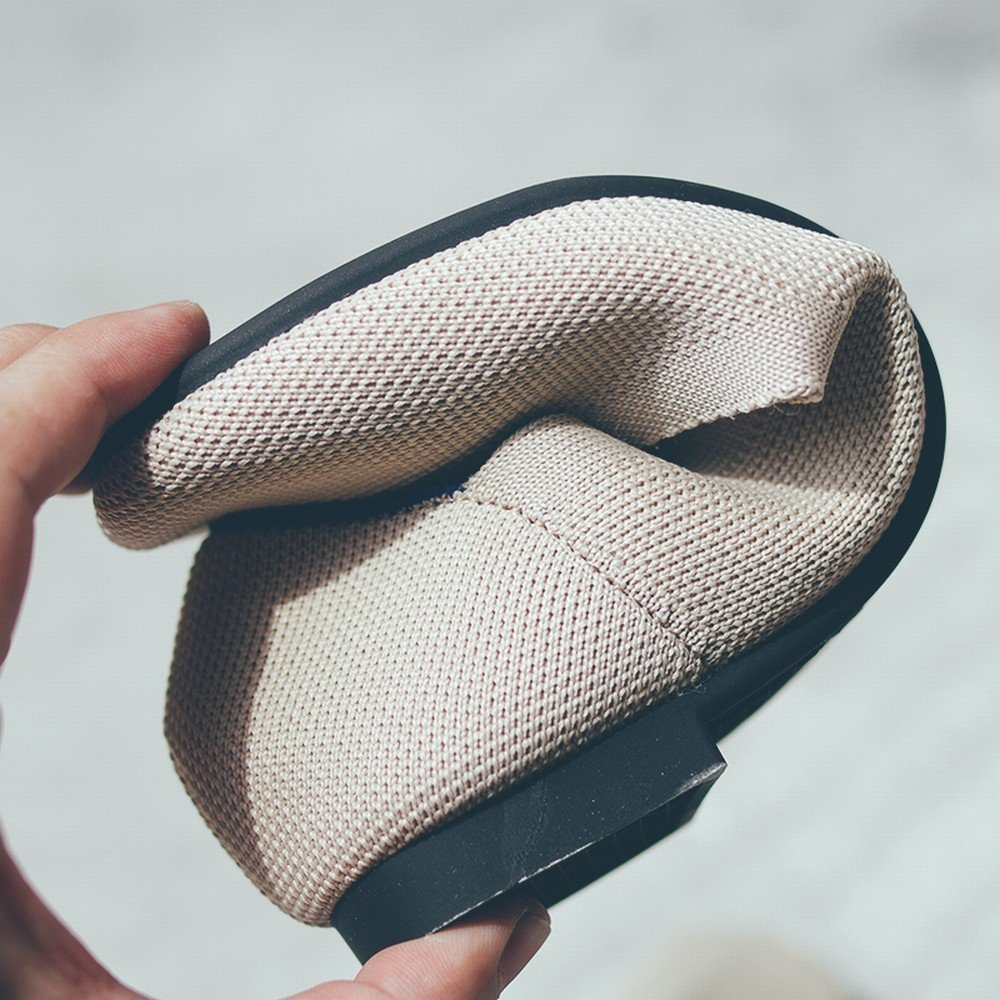 DIDIDD Shallow Mouth Square Kopf Atmungsaktive Stretch-Stoff Mode Weichen Boden Aprikose Faule Schuhe Aprikose Boden 36 26121d