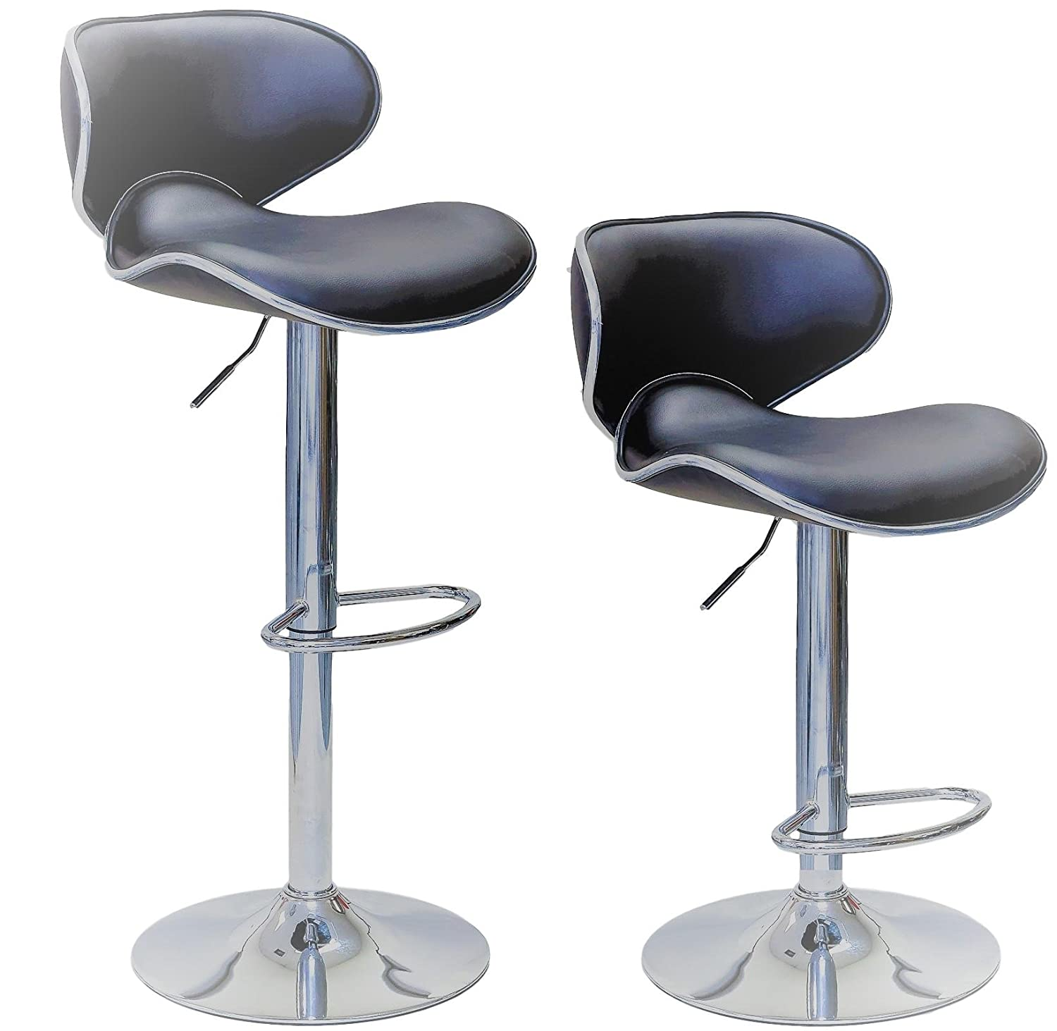 ViscoLogic® Series Oasis Height Adjustable Leatherette Saddle Style Seat and High Back Rest 360 Swivel 24 to 33 inch Bar Stool with Chrome Pole & Base with Hard Floor Protection Plastic (Set of 2 Stools) (Grey)