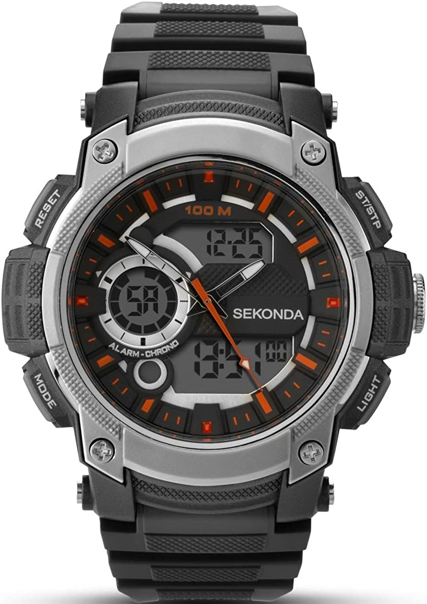 Sekonda Hombre Digital Reloj de Mujer con Esfera Negra Pantalla Digital y Correa de plástico en Color Negro 1160.05