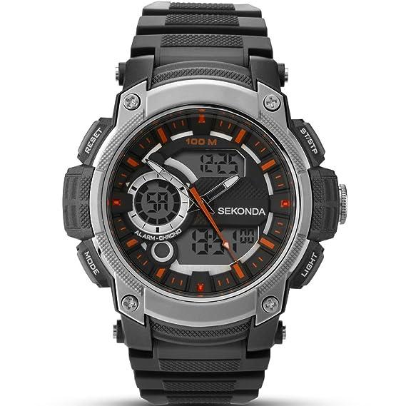 Sekonda Hombre Digital Reloj de mujer con esfera negra pantalla digital y correa de plástico en color negro 1160.05: Amazon.es: Relojes
