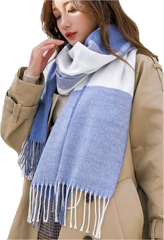 Wander Agio Women's Fashion Scarves Long Shawl Winter Thick Warm Knit Large Plaid Scarf