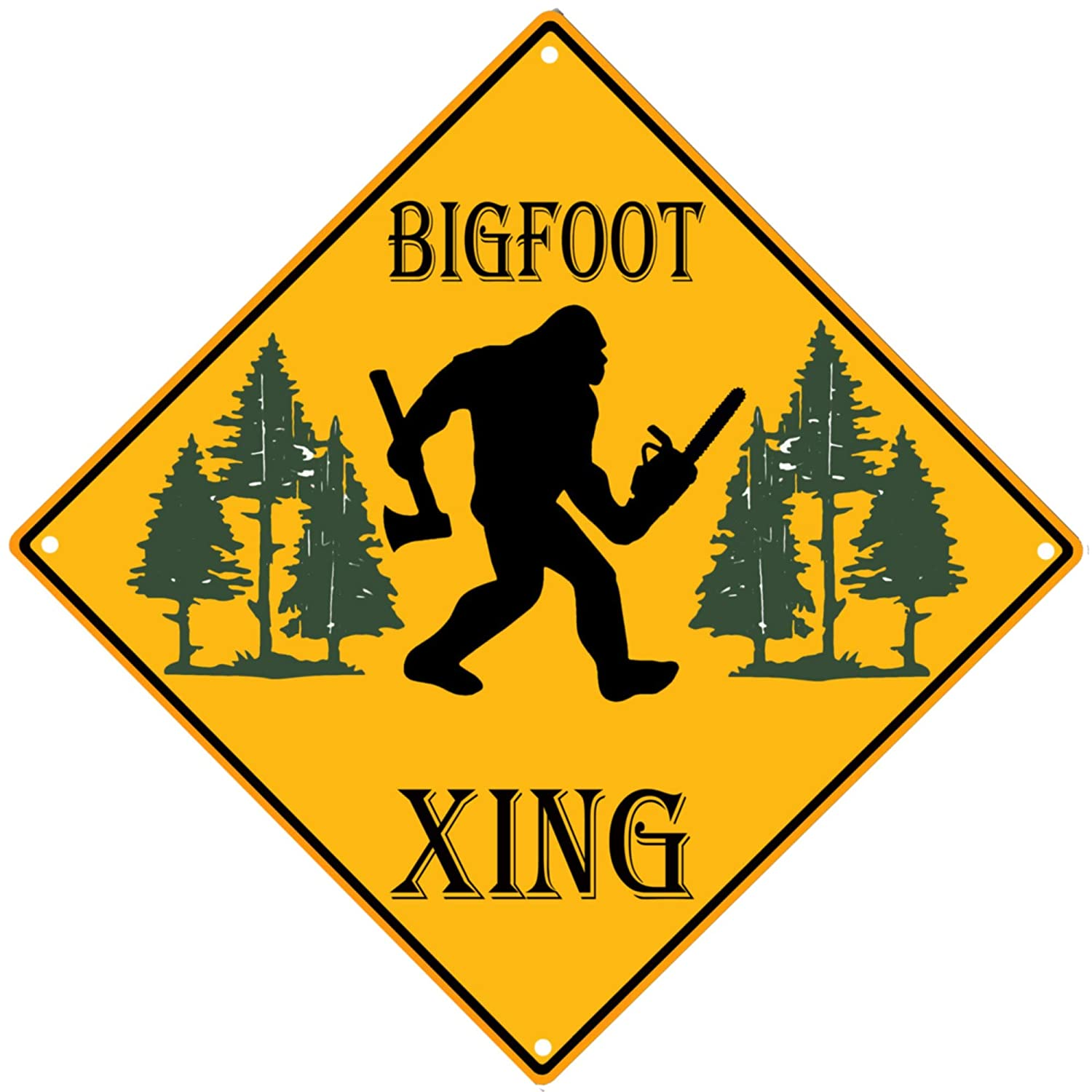 PXIYOU Funny Sasquatch Bigfoot Crossing Warning Sign Vintage Metal Tin Sign for Man Cave Cafe Bar Pub Beer Wall Decor 12X12Inch