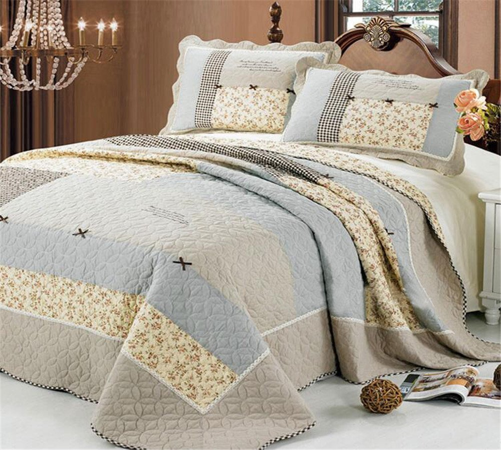 3 Piece Bow-Knot Floral Patchwork Bedspreads Quilt Comforter Sets