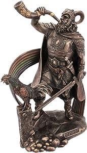 Veronese 9 1/2 Inch Norse God Heimdall Bronzed Finish Statue Pagan
