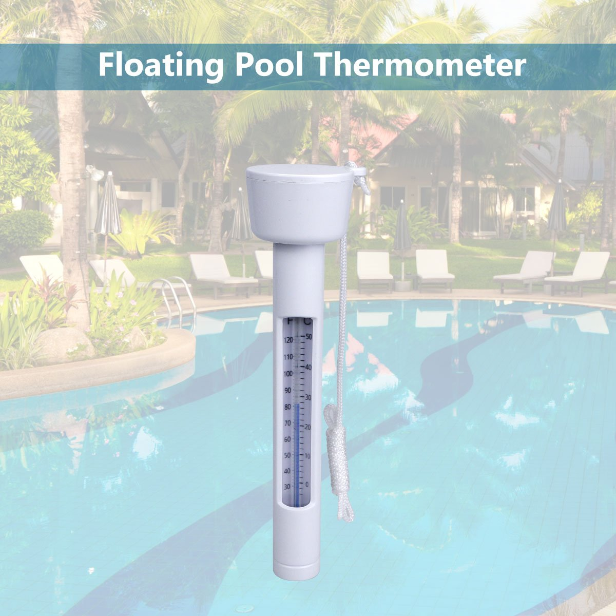 Magicfun Thermomètre Flottant de Piscine, avec Une Corde, Résistant aux Chocs pour Tous Les & piscines, Spas, Hot Tubs, Aquariums & Les Étangs du Poisson
