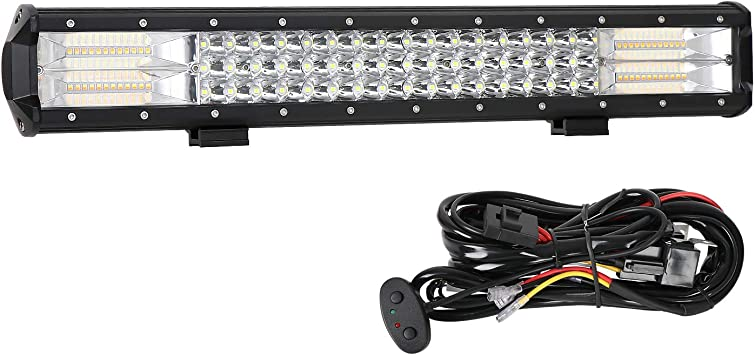 Amazon Com Led Light Bar Aaiwa Strobe Led Bar 288w Off Road Lights 20 Inch Triple Row Driving Light Spot Flood Combo Beam Led Work Light With Wiring Harness Kit For Trucks Tractor