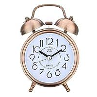 Jeteven Vintage Silent Alarm Clock Loud Twin Bell Mute Alarm Clock Quartz Analog Retro Bedside and Desk Clock with NightlightCopper