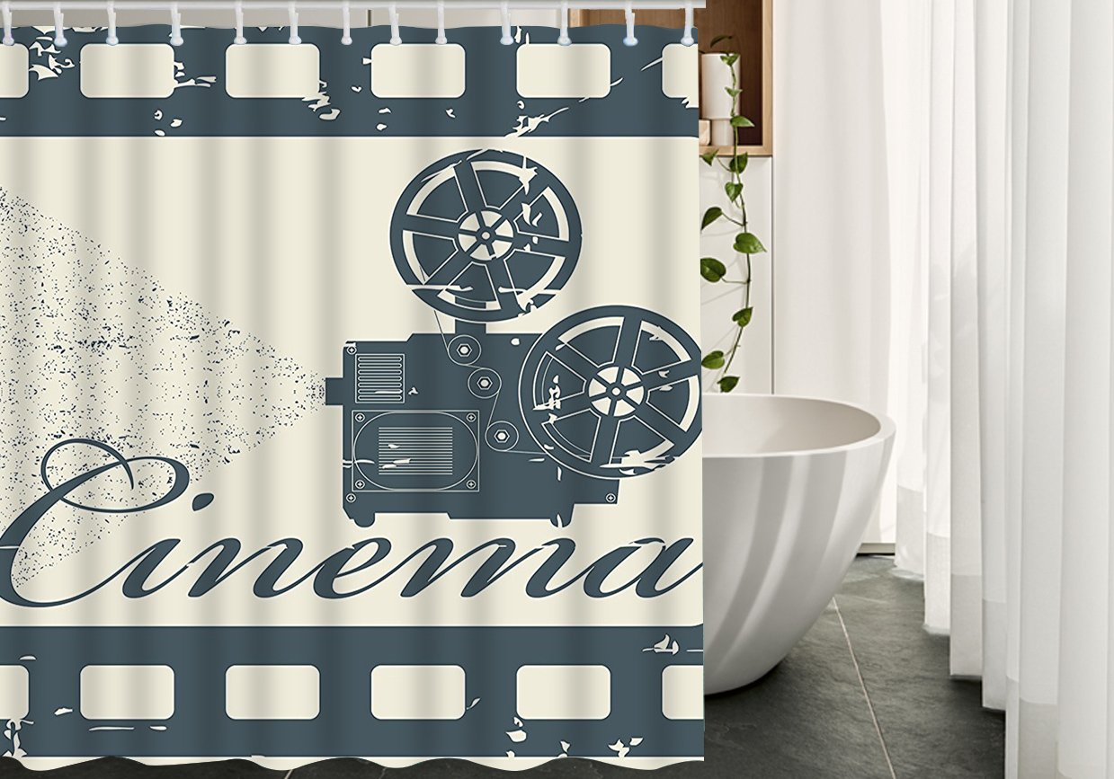 HGOD DESIGNS Cinema Shower Curtain for Bathroom,Movie Theater Frame Cinema Slate,Waterproof Polyester Fabric Shower Curtains Set with Hooks,Blue Beige,66''X72''