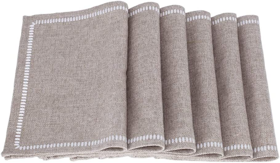 "millianess Placemats Cotton Linen Embroidery Table Mats Heat Resistant Kitchen Tablemats for Dining Table 13""x18"" (6 Piece,Nature-Linen)"