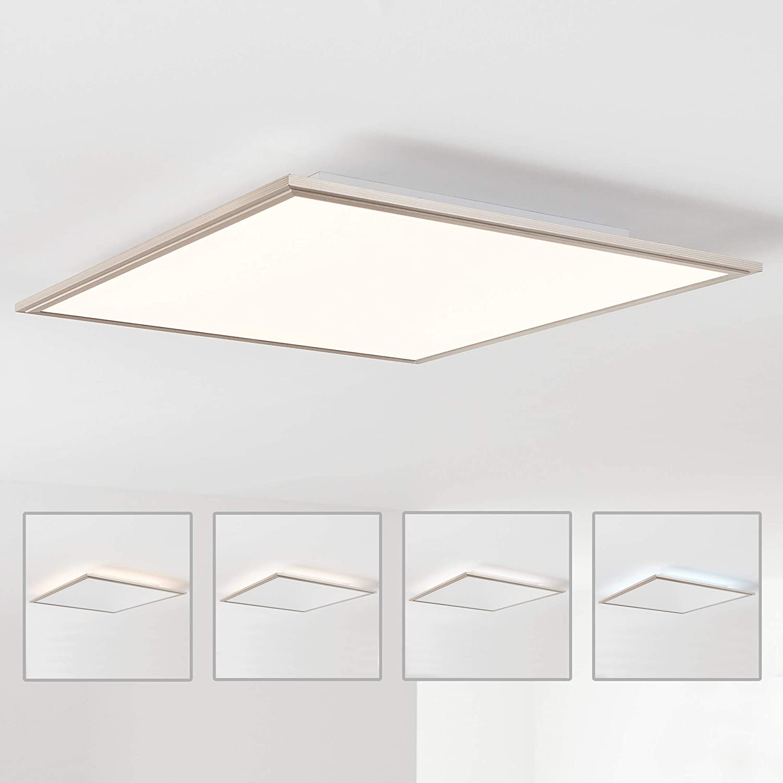 LED Panel Deckenleuchte 60x60cm, 1x 42W LED integriert, 1x 3500 Lumen, 2700-6200K, Metall/Acryl, nickel eloxiert