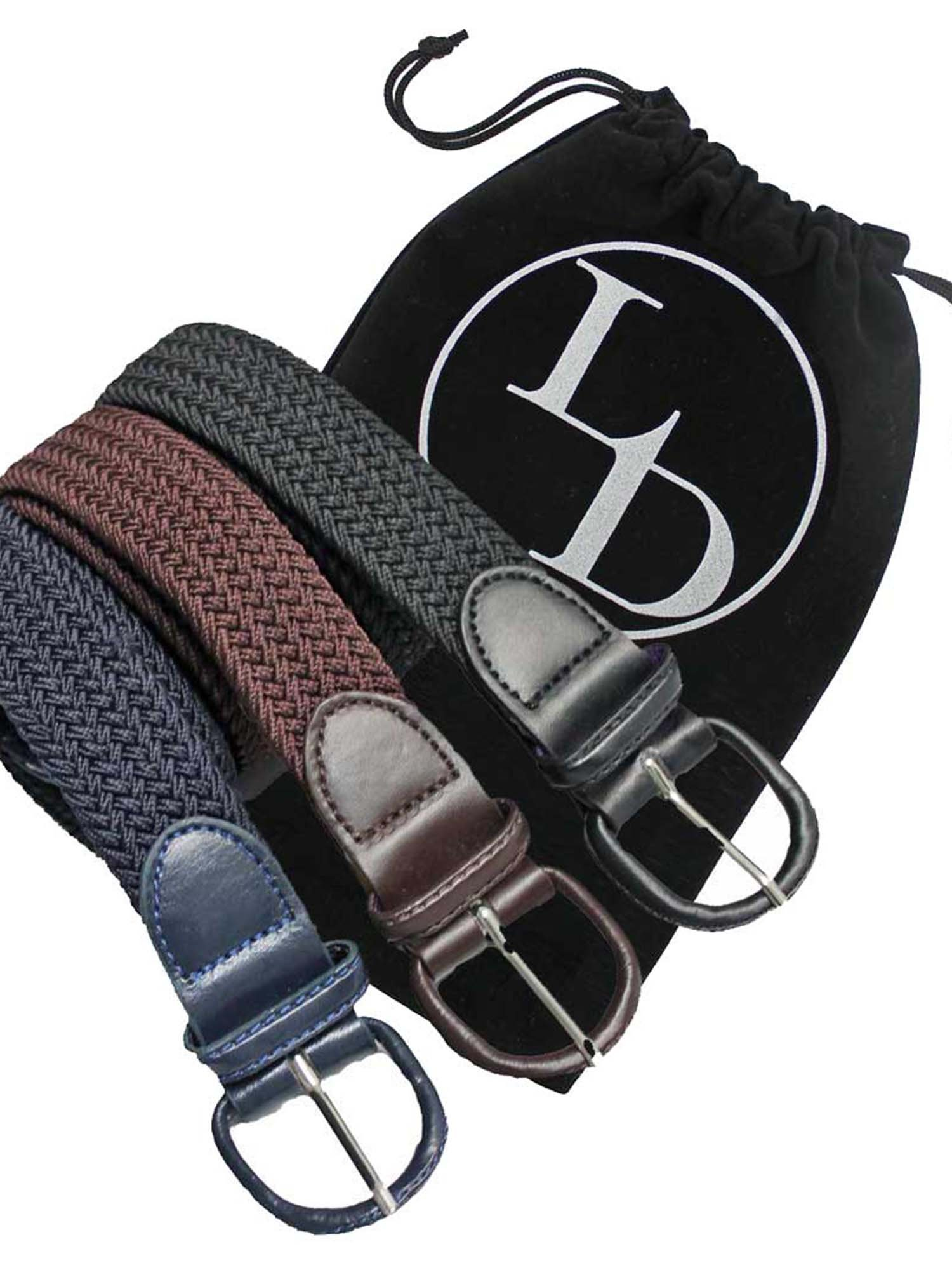 Black Navy Blue Brown 3 Pack Braided Elastic Belts Size Large