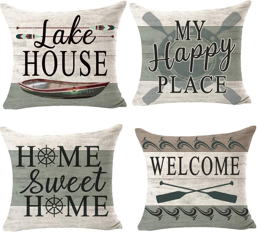 Itfro 4pcs Outdoor Lake House My Happy Place Home Sweet Home Decorative Throw Pillowcase Cushion Cover Square Pillow Sham For Bedroom 18 Home Kitchen