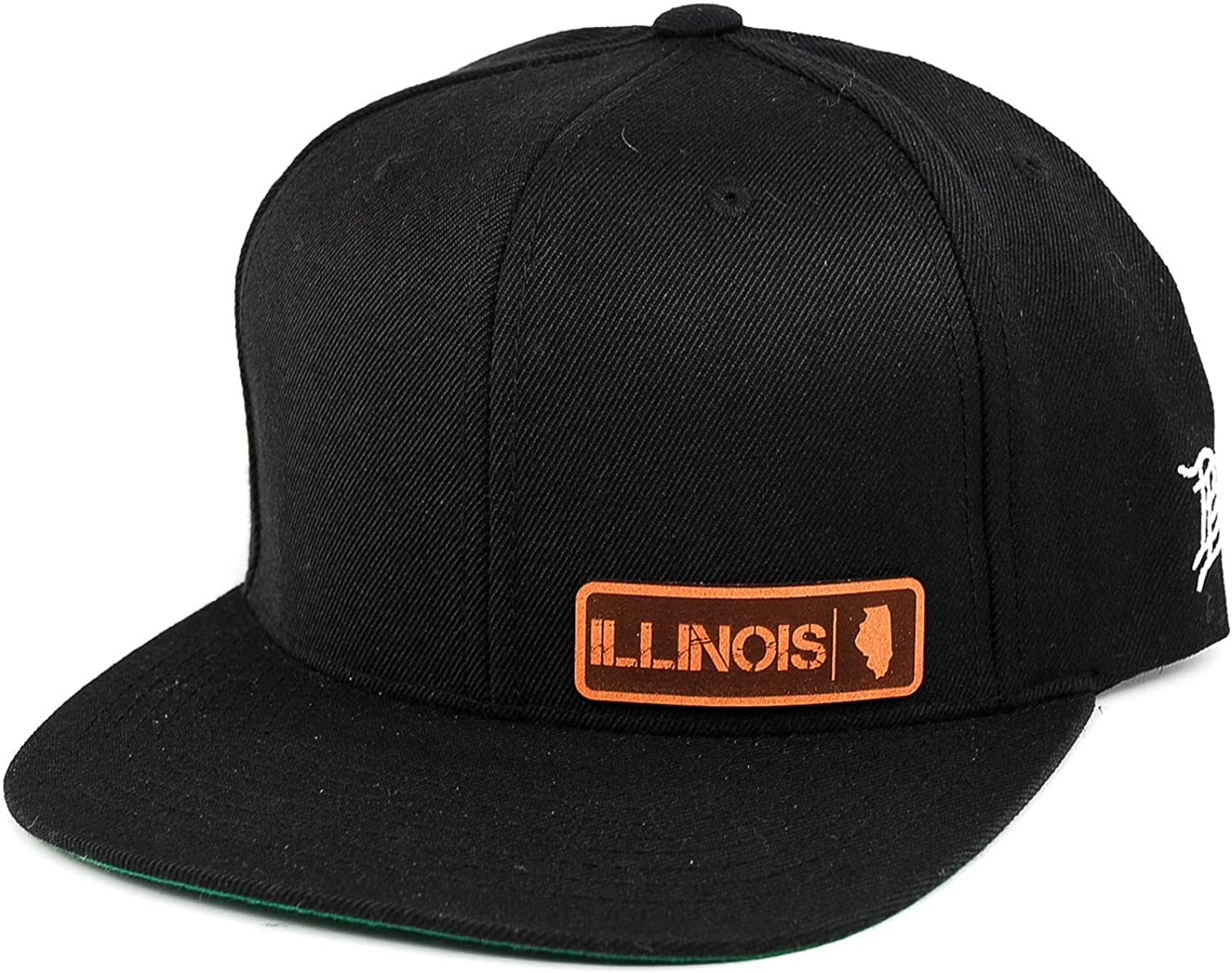 Branded Bills /'Illinois Native Leather Patch Snapback Hat OSFA//Black