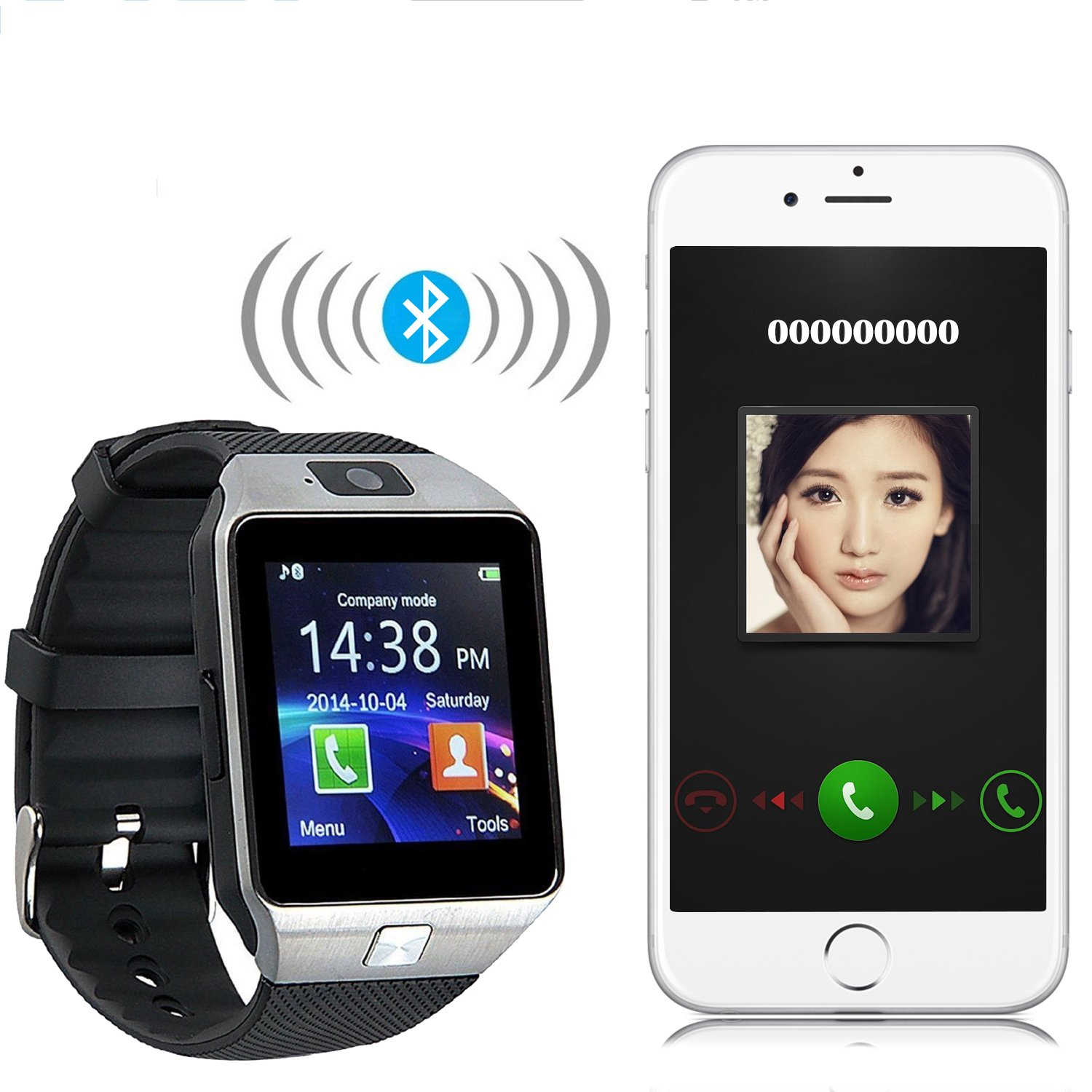 GZDL Bluetooth Smart Watch DZ09 Smartwatch GSM SIM Card With Camera For Android IOS Black by GZDL: Amazon.es: Electrónica