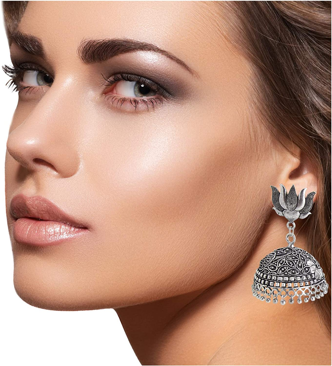 9blings Tribal Collection Silver Oxidized Beads Jhumka Earrings For Womens//Girls