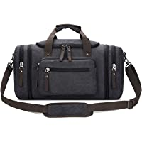 Toupons 20.8   Large Canvas Travel Tote Luggage Men s Weekender Duffle Bag  (Black) 075d93c3a9add
