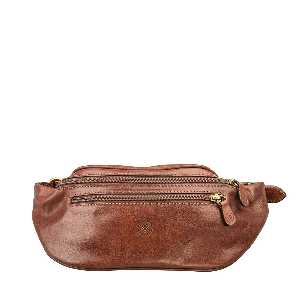 Maxwell Scott Luxury Leather Tan Fanny Pack (Centolla)