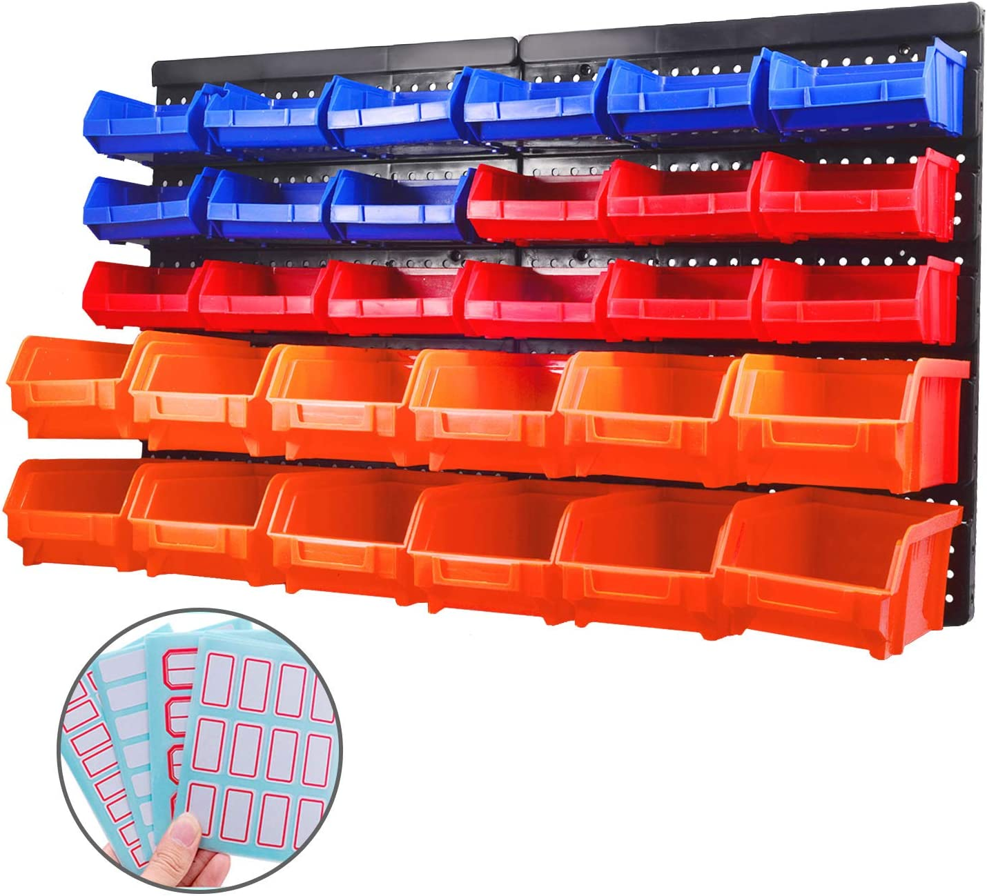WISION Wall Mountable Storage Bins Container Parts 30 Bin Rack Organizer for Tools, Hardware, Crafts, Office Supplies and More