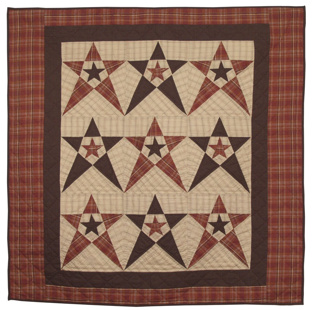 Primitive Country Star Wall Hanging Quilt 44 Inches by 44 Inches 100% Cotton Handmade Hand Quilted Heirloom Quality by Choices Quilts