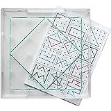 Geobrett quadratisch transparent 15 x 15 cm, stapelbar, inkl. Gummiringe und 12 Lege-Vorlagen, Legespiel Geometrische Formen legen und verstehen, robust aus umweltfreundlichem RE-Plastic ®, Made in Germany