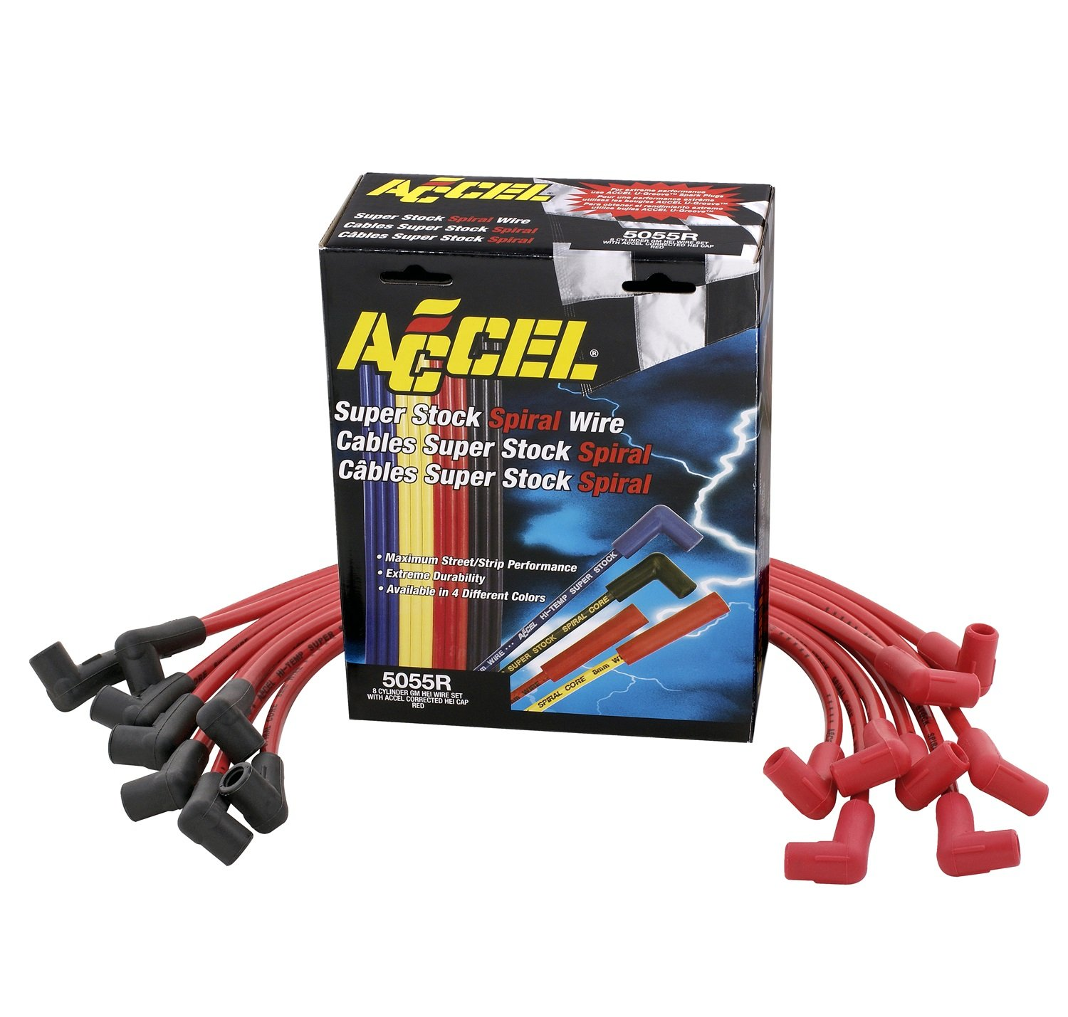 Accel Acc5055r Red 8mm Super Stock Spiral Custom Wire Gm Hei Wiring Set Automotive