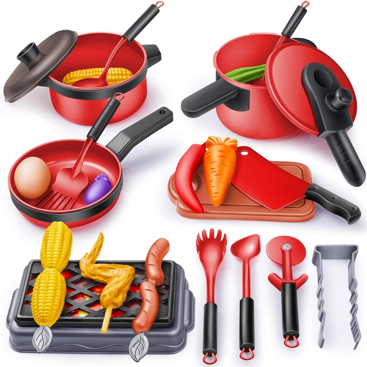 Geyiie Kids Kitchen Pretend Play Toys, Barbecue Toys for Kids, 24PCS Play Kitchen Accessories, Play Food BBQ Grill Pots and Pans Playset, Gift for Toddlers Kids Girls Boys