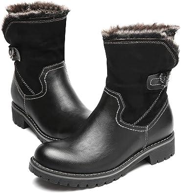 gracosy Bottes de Neige Femmes, Bottines Fourrées Hiver Plates en Cuir Synthétique avec Doublure Fourrure Chaussures Ville Chaude Confort Zippée Tige