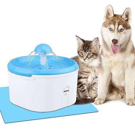 AEMIAO Fuente de Agua Bebedero para Perro Gato, Inteligente Sensor, 2.2 L