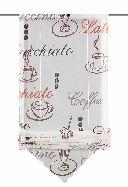 Home fashion 57132-802 Caffè - Tendina a pacchetto, in voile stampato, 140 x 45 cm, 1 pezzo, colore: Crema